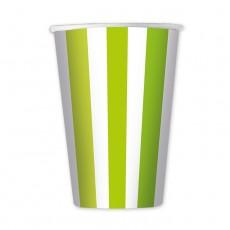 Bicchieri di carta a righe verde mela cc.470 Pz.6