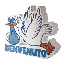 Scritta in Polistirolo per nascita bimbo con scritta Benvenuto cm.38x29x5