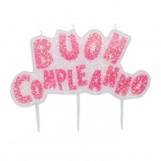 Candelina scritta Buon Compleanno rosa glitter cm.15x10
