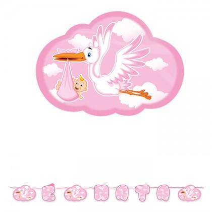 Scritta maxi Cicogna Nuvola Rosa cm.600
