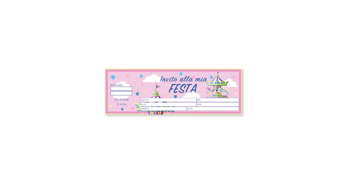 20 Inviti Assegno Carousel Party 21x7 cm
