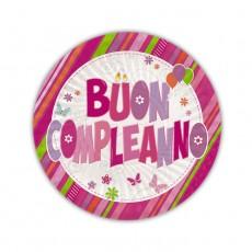 Piatti con scritta Buon Compleanno rosa cm.18 Pz.10