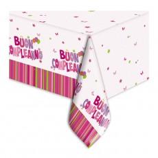 Tovaglia in plastica Buon Compleanno rosa cm.140x270