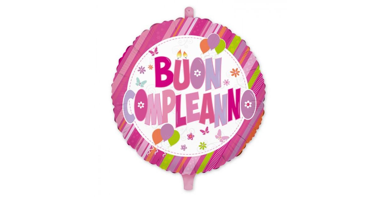 Palloncino tondo rosa con scritta Buon Compleanno – Mylar cm.45 (18″)