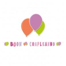 Scritta rosa Buon Compleanno con palloncini cm.600
